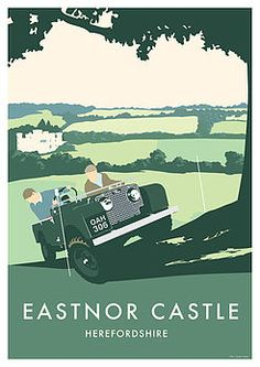 Retro Vintage Land Rover Series 1 80 Eastnor by RetroEighty 4x4, Eastnor Castle, Adventure Car, British Travel, Off Road, Herefordshire, Land Rover Discovery, Automotive Art, Vintage Travel Posters