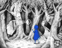 Blue girl in the dark forest