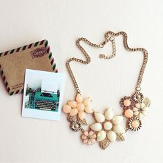 Vintage floral necklace Pastel necklace Hwl boutique  Jewelry Necklaces