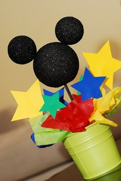 Mickey Mouse centerpiece--Done. Made mickey out of card stock though. Theme Mickey, Mickey Mouse Bday, Mickey Mouse Clubhouse Birthday Party, Mickey Mouse Parties, Mickey Party, Mickey Mouse Birthday, 3rd Birthday Parties, 2nd Birthday, Birthday Ideas