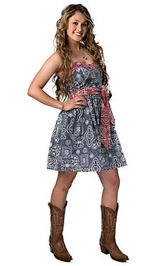 Pink Cattlelac Women's Red and Blue Bandana Strapless Dress