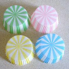 Fairy Bun or Cupcake Cases Carousel Stripes  by MarmaladySupplies, £4.50