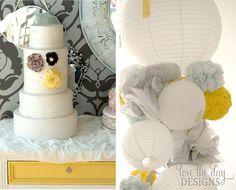 Wedding cake in yellow & gray