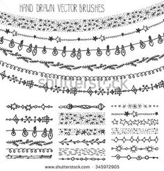 Christmas Hand drawn garland brushes.New year doodle pattern textures,snowflakes, lamps, stars ornament.Decoration vector set.Winter symbols.Used brushes included