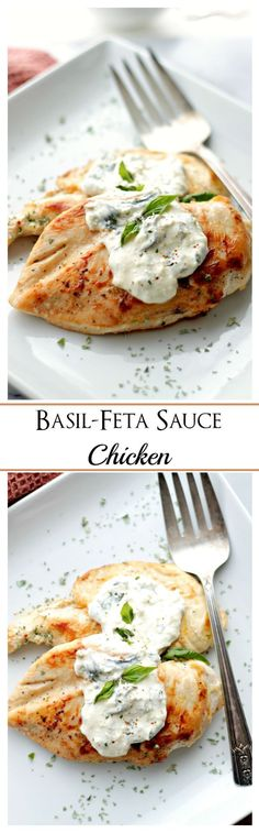 Basil-Feta Sauce Chicken   www.diethood.com   Flavorful and tangy sauce made with basil, garlic and feta cheese served over deliciously juicy chicken.
