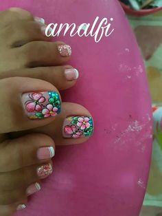 Uñas Really Cute Nails, Pretty Toe Nails, Cute Toe Nails, Cute Nail Art, Beautiful Nail Art, Cute Pedicure Designs, Toe Nail Designs, Colorful Nail Designs, Nail Designs Spring