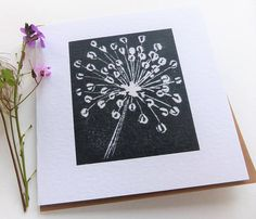 This design is inspired by the fantastic structural seed heads of the Allium plants which grow in my Dorset garden. The card comes in a choice of 3 colours : black, blue or green and the price listed is for each card. Its reproduced digitally from my original linocut design