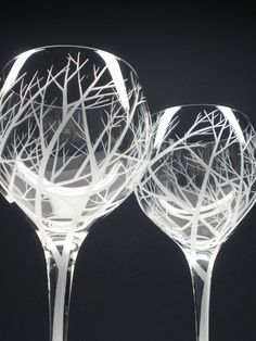 2 Red Wine Glasses . Hand Engraved .