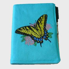 Fabric Notebook Cover in Bright Blue Felt by EmbroideryScene