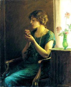 ⊰ Posing with Posies ⊱ The Full Blown Rose by Charles Courtney Curran , 1924
