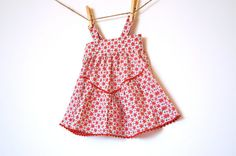 Upcycled Vintage Apron Dress / Red and PInk by weestitchery, $45.00