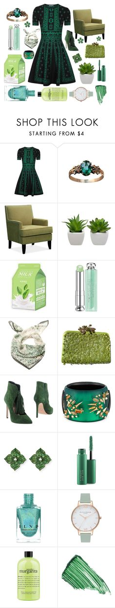 """Seeing green"" by ferretsmither ❤ liked on Polyvore featuring Alexander McQueen, Charlotte Russe, Christian Dior, Marina D'Este, Valentino, Anna F., Alexis Bittar, Piranesi, MAC Cosmetics and Olivia Burton"