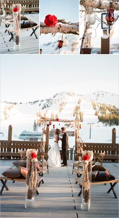 Winter wedding ideas - love the use of pine cones.
