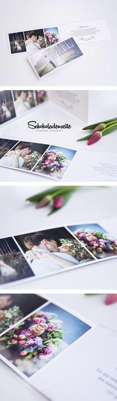 Eine unserer beliebten Dankeskarten mit der Sie bei Ihren Gästen die schönsten Erinnerungen wecken können.   #schokoladenseitekarten #wedding #thankyoucard #dankeskarten #hochzeit #love #pictures