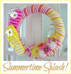 "Pool Noodle Wreath -- Use a ""pool noodle"" and remnants on hand to create a cheap & fun wreath!"