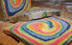 Recipe: Rainbow bread for sammies. This looks pretty easy to make. Just make you usually bread recipe and then divide the dough into 6 pieces and add food coloring. Flatten the balls and then layer the colors on top of each other and then roll then together and put them into your bread pan to cook.