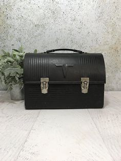 Vintage Black Domed Lid LUNCHBOX- Retro Thermos Metal Industrial Lunch Box Norwich, CT. Industrial Decor Farmhouse King-Seeley Thermos Co.