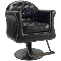 The Sovereign is arguably one of our most comfortable styling chairs and features a large removable bottom cushion, tufted back, and tack head accents. Bringing a rich and old-world styling to any space. Shown in Antique Black. Hair Salon Chairs, Salon Styling Chairs, Wooden Dining Room Chairs, Garden Table And Chairs, Hair Salon Interior, Polywood Adirondack Chairs, Most Comfortable Office Chair, Salon Furniture, Eames Chairs