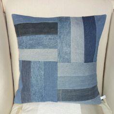 Housse de coussin en patchwork, jeans recyclé
