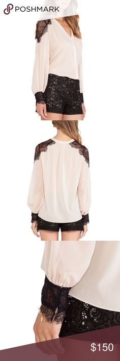 """Alice + Olivia • Sofia Lace Shoulder Blouse Alice + Olivia Sofia Lace Shoulder Blouse in Nude Lip. 96% Silk and 4% spandex. Button front and at the sleeves. Lace shoulders and cuffs. Semi sheer. Perfect condition, no flaws. Chest/Bust: 32"""" Sleeve:25"""" Shoulder:15"""" Length:  26 Alice + Olivia Tops Blouses"""