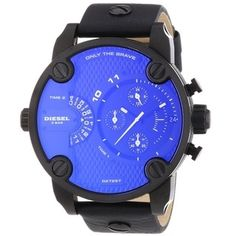 Shop for Diesel Men's Black Leather Blue Dial Analog Quartz Watch. Get free delivery On EVERYTHING* Overstock - Your Online Watches Store! Diesel Watches For Men, Expensive Watches, Best Watch Brands, Cool Watches, Men's Watches, Wrist Watches, Bracelet Cuir, Fashion Watches, Men's Fashion