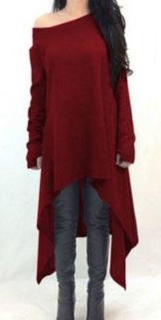 Casual Ruby Red Skew Neck Solid Color Long Sleeve Asymmetric Hem Dress
