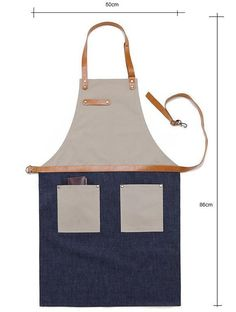 Premium Gift for woman and man Chef Works Handmade Apron Japanese Cross Back - Denim canvas leather Apron Beige Blue Leather Gifts, Leather Craft, Canvas Leather, Cow Leather, Restaurant Uniforms, Chef Apron, Man Apron, Work Aprons, Leather Apron