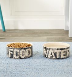 Hand-crafted | oven-fired | durable | Vintage |  Dishwasher safe | food + water bowls | cool dog stuff #dogs