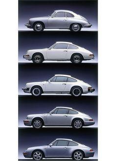 porsche 356 + 911 + 911sc + 911 964 + 911 993 - air-cooled generations - photo auto clasico