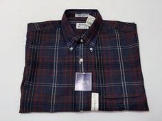 Arrow Sport L Short Sleeve Button Up Men's Cotton Polyester Blend Brown Red Blue #Arrow #ButtonFront