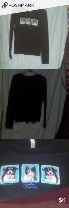 Longsleeve black tshirt It is from petsmart charities and has dogs and a cat on front. It is a medium and all cotton.  Rn #87370 bella Tops Tees - Long Sleeve