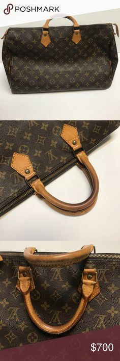 Louis Vuitton Speedy 40 Authentic very well taken care of LV Speedy 40. Original hardware and working zipper. Zipper pull attached. Interior is clean with no stains. Outside canvas is great with no stains. Leather signs of use but overall great shape. More pictures available if needed. Bag has been cleaned and protected with Apple Care products. Louis Vuitton Bags