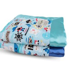 Pirates Treasure Velour Blue on both sides with Flat Satin Border Blanket