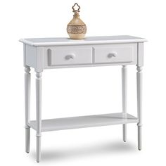 Leick 20027WT Coastal Narrow Hall StandSofa Table with Shelf Orchid White -- Details can be found by clicking on the image.