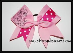 $12 Sleeping Princess Bow available at www.cheerlicious.com Disney Cheer Bows, Cheerleading Cheers, Disney Trips, Dresser, Halloween Costumes, Bling, Princess, Hair, Hair Bows