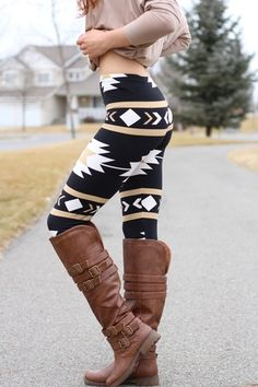 Navajo Aztec Print Leggings, also need these color of boots as I wear the heck out of my black ones like them!