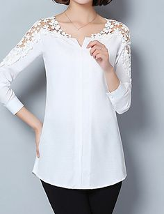 Women& Going out Formal Work Sexy Street chic Sophisticated All Seasons Spring Shirt,Solid Asymmetrical Long Sleeve Blue Pink White Green 5569150 2017 – Blouse Styles, Blouse Designs, Super Moda, Street Style Chic, Cheap Womens Tops, Spring Shirts, Plus Size Kleidung, Plus Size Blouses, Long Tops