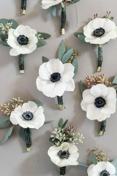 Courtney Inghram Events floral design anemone boutonnieres photographed by Audrey Rose Phorography at Early Mountain Vineyards in Virginia. Wedding boutonniere for groom at winery wedding. Organic wedding with anemones and seeded eucalyptus. Groomsmen boutonniere for wedding. Wedding flowers with eucalyptus greenery and white flowers. Winter vineyard wedding.