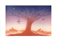 Folon Jean Michel : Gravure eau-forte aquatinte : Le grand arbre