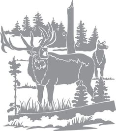 Glass etching stencil of Two Elk in a Field. In category: North American Mammals, Trees