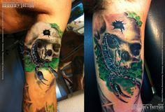 Skull & Scorpion, quick sketch and final tattoo. www.tattoo-art.de