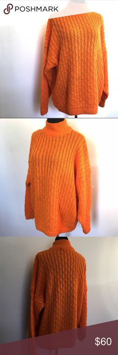 Vintage Esprit Big Sweater oversized orange Awesome vintage sweater by Esprit in bright orange! Beautiful weave in excellent vintage condition. Tag marked size large and cowl neck. Hits mid thigh on most. So funky and stylish! Vintage Sweaters Cowl & Turtlenecks