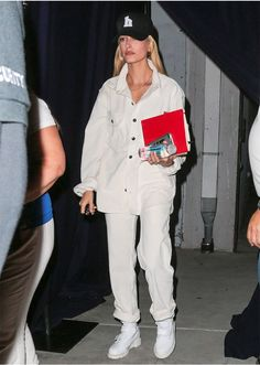 STYLECASTER   Hailey Baldwin Best Street Style Guide   white denim jacket, pants, and shoes
