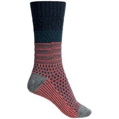 SmartWool Popcorn Cable Socks - Merino Wool, Crew (For Women) in Deep Navy Heather - 2nds