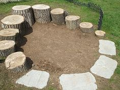 This is the little natural play area that my husband put together in our yard. He built up the little hill area and arranged some tree s...