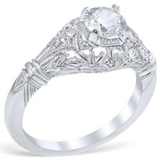 "Whitehouse Brothers 14K White Gold ""Edwardian Blossom""  Vintage Style Diamond Engagement Ring"