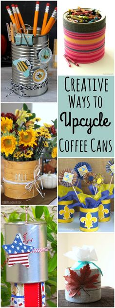 Reuse and upcycle coffee cans with these creative ideas! From centerpieces to gift sets, there are many unique ways to upcycle coffee tins.