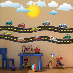 Cars and Race Track Wall Decal Kid's Bedroom Racetrack Wall Decor Remo – Prim. Sports Wall Decals, Kids Wall Decals, Kids Stickers, Wall Stickers, Nursery Decals, Car Decals, Kids Room Design, Wall Design, Romantic Bedroom Decor