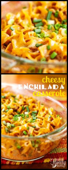 This easy Cheesy Enchilada Casserole your whole family will love! My husband requests it all the time! Make it with leftover shredded chicken or beef.