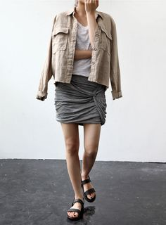 Mini skirt and military jacket. Simply marvelous!